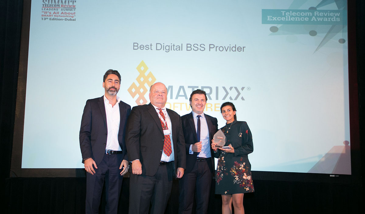 Ali Harfouche, MATRIXX, gets Best Digital BSS Provider award from Telecom Review Leaders Summit. Also pictured: Najib Abboud and Greta Khalil from MATRIXX.